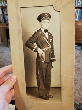 My dad's dad, age 11, in a uniform he got from who knows where...